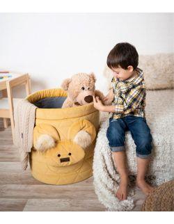 Kosz na zabawki Teddy Triangles mustard
