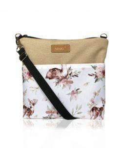 wodoodporna torebka dla dziewczynki Ninki® ( sarenka na białym tle - beżowy tył )