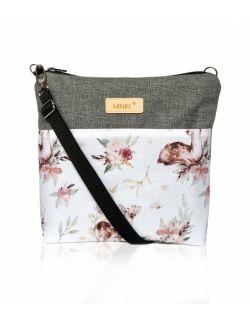 wodoodporna torebka dla dziewczynki Ninki® ( sarenka na białym tle - ciemnoszary tył )