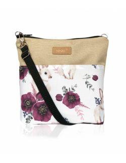 wodoodporna torebka dla dziewczynki Ninki® ( królik z fioletowym makiem - beżowy tył )
