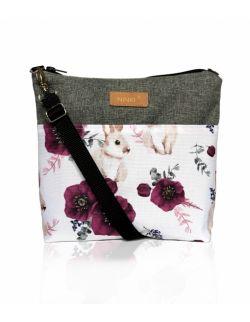 wodoodporna torebka dla dziewczynki Ninki® ( królik z fioletowym makiem - ciemnoszary tył )