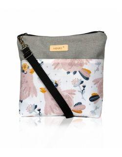 wodoodporna torebka dla dziewczynki Ninki® ( różowy ptak na białym tle )