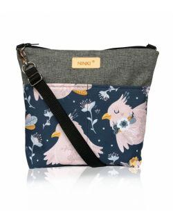 wodoodporna torebka dla dziewczynki Ninki® ( różowy ptak na granatowym tle )
