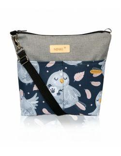 wodoodporna torebka dla dziewczynki Ninki® ( niebieski ptak na granatowym tle )