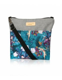 wodoodporna torebka dla dziewczynki Ninki® (papugi na turkusowym tle - jasny szary )