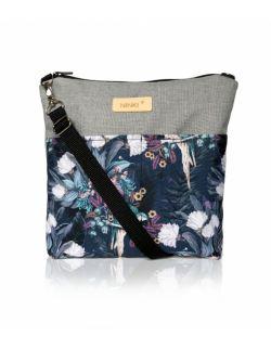wodoodporna torebka dla dziewczynki Ninki® (papugi na granatowym tle - jasny szary )