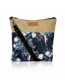 wodoodporna torebka dla dziewczynki Ninki® (papugi na granatowym tle - beżiowy )