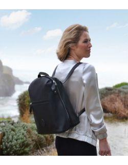 Plecak dla mamy Hartland, czarna ekoskóra, PacaPod