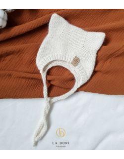 Winter Kitty Bonnet Milky