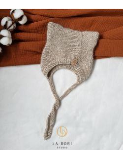 Winter Kitty Bonnet Light beige