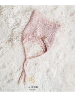 Winter kitty Bonnet Light pink