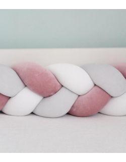 ochronny pleciony warkocz //welur bawełniany// Brudny róż /biały/jasny szary 180cm