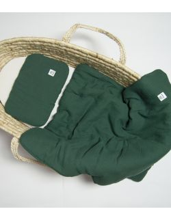 Komplet pościel muślinowa z wypełnieniem 100% bawełna ekologiczna GOTS 60x70 butelkowa zieleń