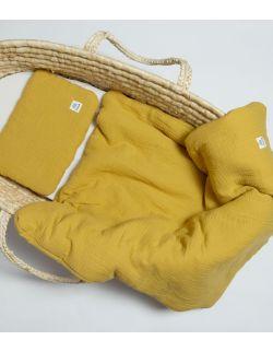 Komplet pościel muślinowa z wypełnieniem 100% bawełna ekologiczna GOTS 60x70 ochra