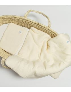 Komplet pościel muślinowa z wypełnieniem 100% bawełna ekologiczna GOTS 60x70 waniliowy ecru Mulinek
