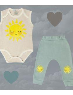 Komplet body ze słoneczkiem + spodnie