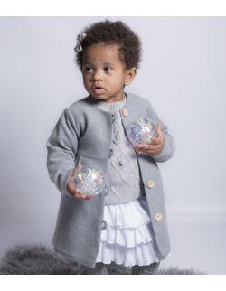 Szary rozkloszowany elegancki płaszczyk dla dziewczynki