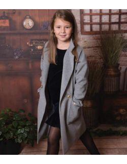 By Royal Baby Edition szary Wełniany przejściowy elegancki Płaszczyk dla dziewczynki