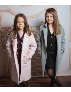 Jesienny płaszcz dla dziewczynki szary melanż