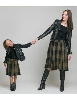 Spódnica Midi Krata Czarno Oliwkowa Zestaw Mama i Córka