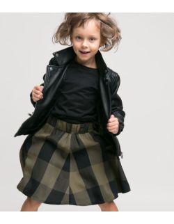 Spódnica Midi Krata Czarno Oliwkowa dla dziewczynki KIDS