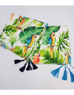 OTULACZ BAMBUSOWY Tropikalne Kolorowe Papugii 110x100cm