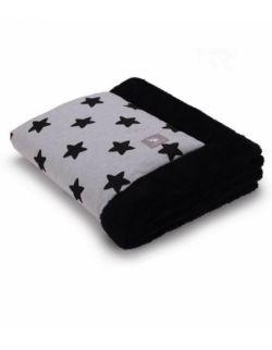 Całoroczny ocieplane kocyk - szary w czarne gwiazdki