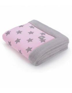 Całoroczny ocieplane kocyk - różowy w szare gwiazdki