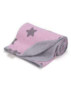 Lekki kocyk summer - różowy w szare gwiazdki