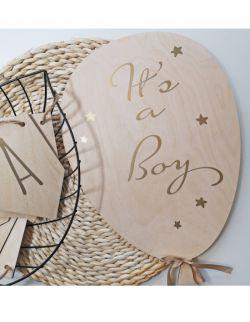 IT'S a boy drewniany balon