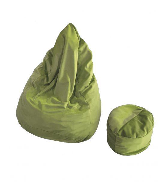 pufa worek z podnóżkiem dla dziecka jasnozielona