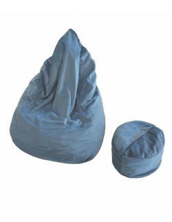 Pufa worek + podnóżek niebieska
