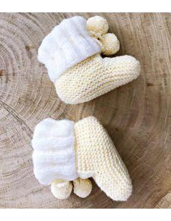 Handmade buciki z pomponem wełniane papcie dla dziecka