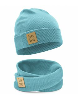 Jesienna czapka z kominem-błękit.