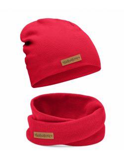 Dziecięca czapka i komin wiosenno jesienna czerwona