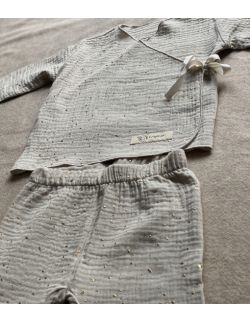 Kaftanik z legginsami piaskowy kropki