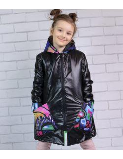 Płaszczyk dla dziewczynki - Kolorowa Abstrakcja z uszami Królika
