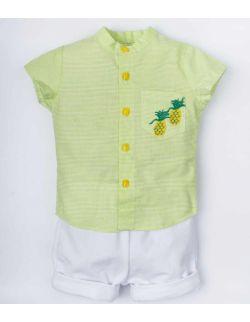 elegancki komplet chłopięcy biały zielony dres Ananski