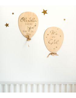 """metryczka drewniany balon, złoty druk """"wiewiórka"""""""