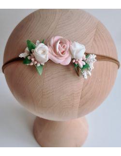 Wianek delikatny róż z bielą urodziny, chrzest