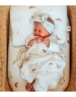Bambusowa płaska poduszka dla niemowląt nut leaves