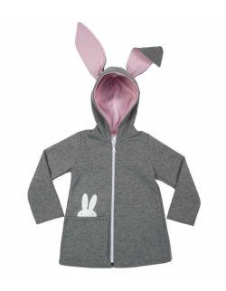 bluza/płaszczyk z uszami królika - szara