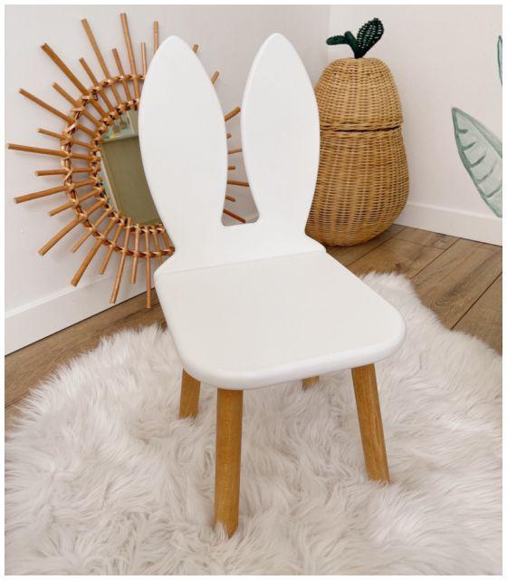 Krzesełko dziecięce królik białe