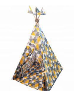 Namiot tipi dla dzieci żółto-szary + stabilizator