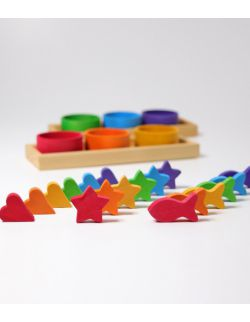 Drewniane Miseczki, gra do sortowania 1+, tęczowe, Grimm's