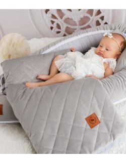 Kokon niemowlęcy szary pikowany velvet