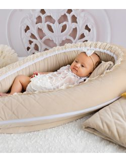 Kokon niemowlęcy kremowy pikowany velvet