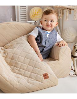 Koc z poduszką kremowy pikowany velvet