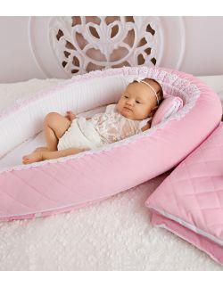 Kokon niemowlęcy różowy pikowany velvet