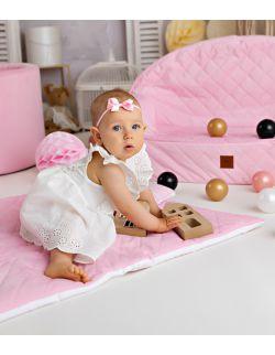 Koc z poduszką różowy pikowany velvet